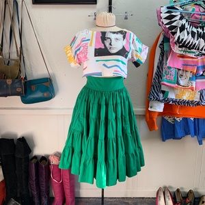 Vintage Square Dance Fiesta Green Midi Skirt